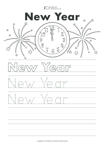 Thumbnail image for the New Year Handwriting Practice Sheet activity.