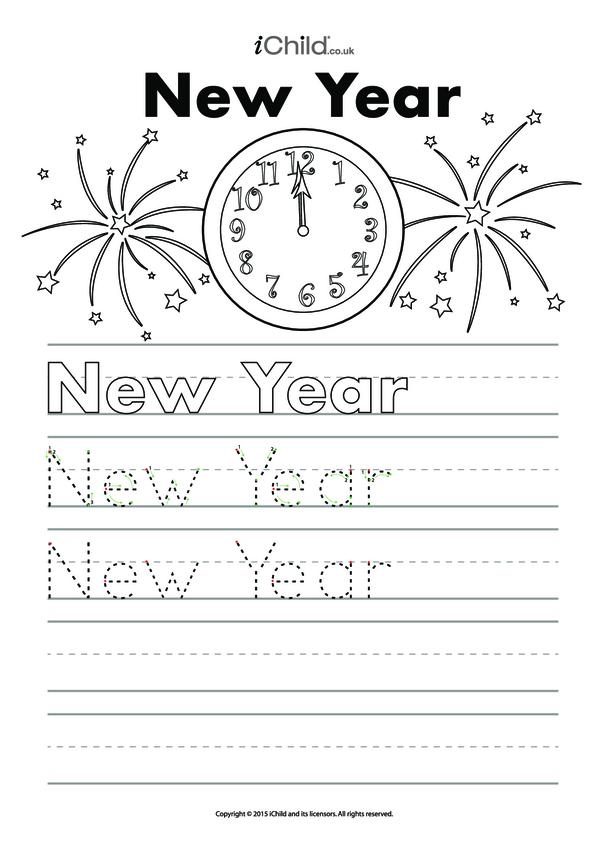 New Year Handwriting Practice Sheet