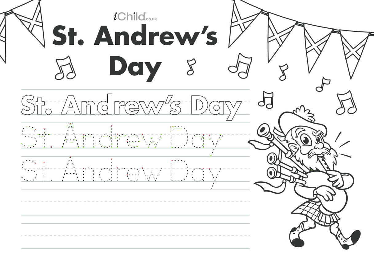 St. Andrew's Day Handwriting Practice Sheet
