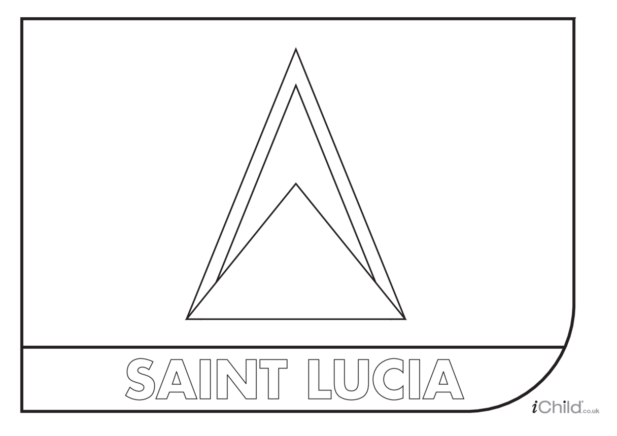 Saint Lucia Flag Colouring in Picture (flag of Saint Lucia)