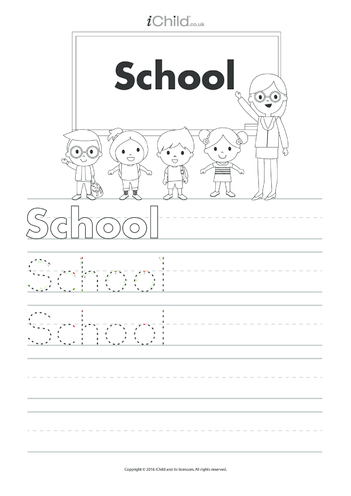Thumbnail image for the School Handwriting Practice Sheet activity.