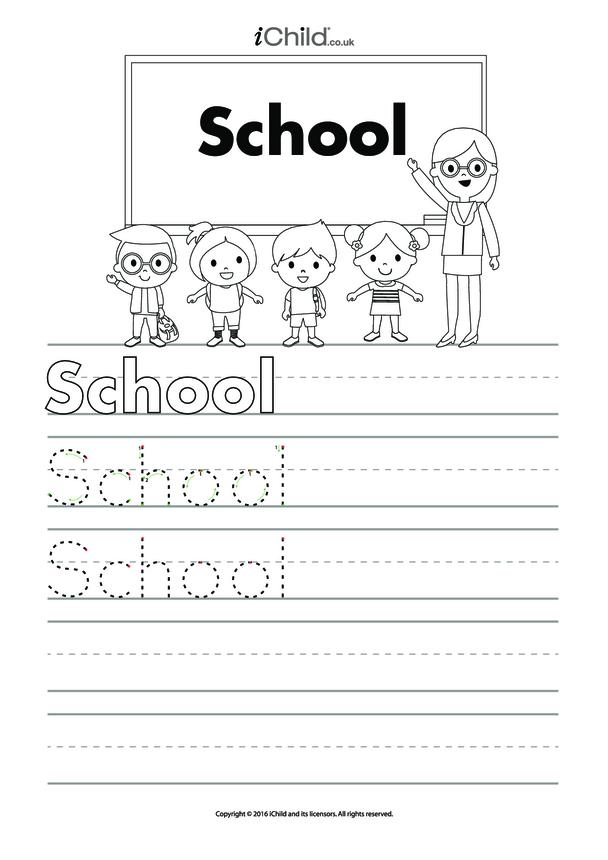 School Handwriting Practice Sheet
