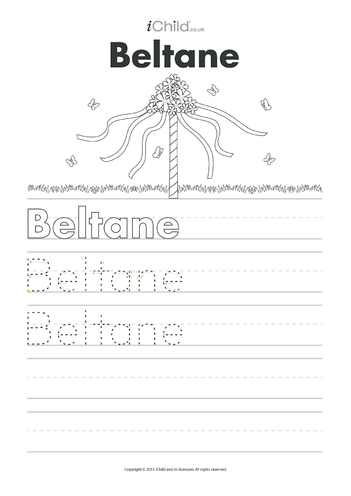 Thumbnail image for the Beltane Handwriting Practice Sheet activity.