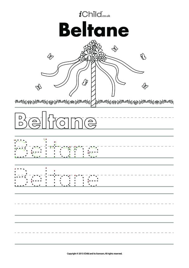 Beltane Handwriting Practice Sheet