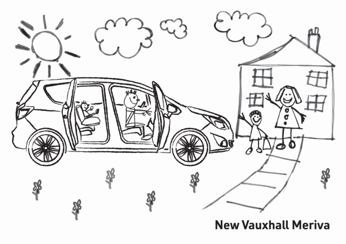 Thumbnail image for the New Vauxhall Meriva Colouring in picture 2 activity.