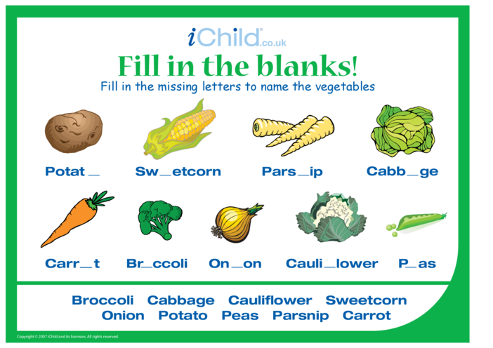 Thumbnail image for the Fill in the Blanks - Vegetables activity.