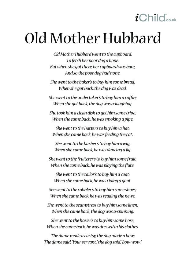 Old Mother Hubbard Lyrics
