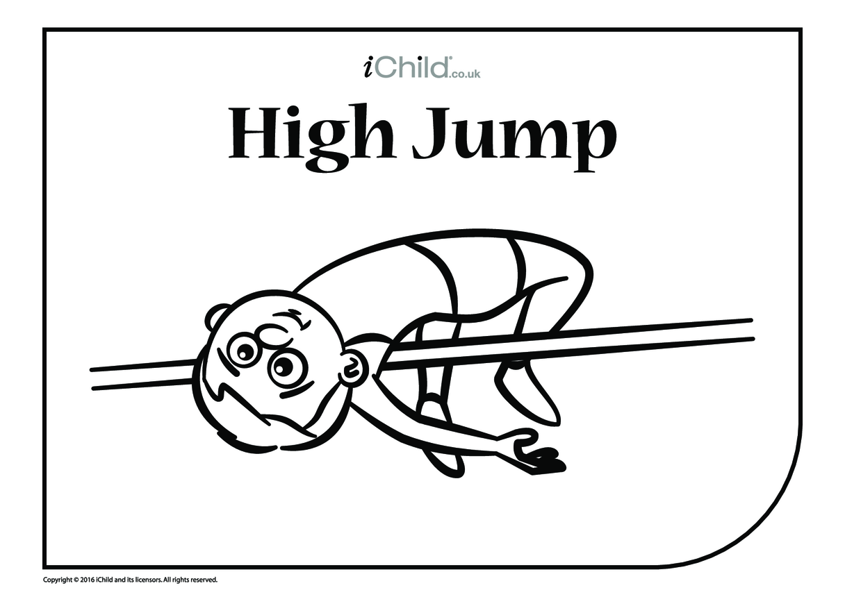 High Jump Colouring in PIcture
