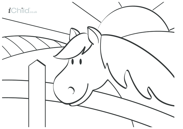 Thumbnail image for the Horse Colouring in picture activity.