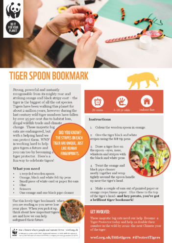 Thumbnail image for the WWF Tiger Spoon Bookmark activity.