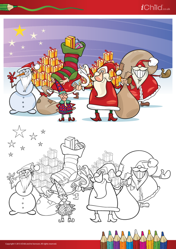 Father Christmas Copy and Colour in Picture 2