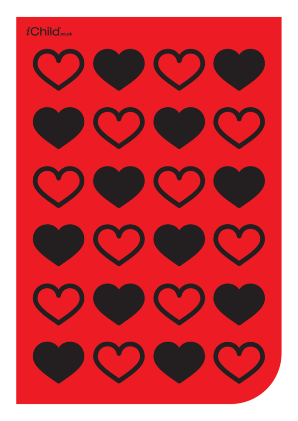Contrasting Colours Poster: Hearts Pattern