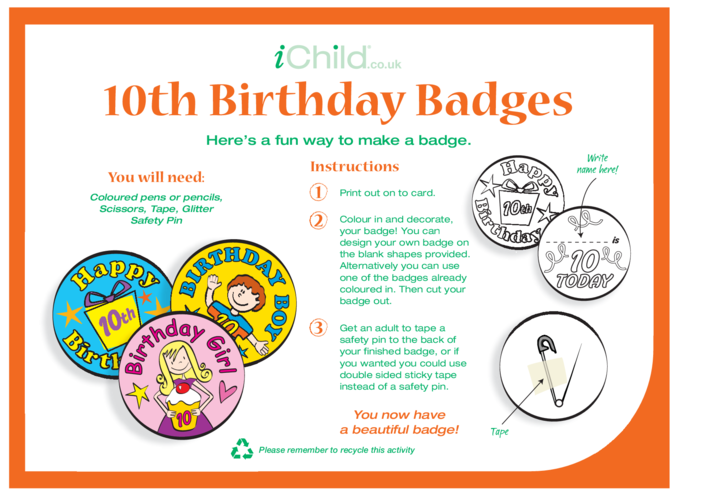 Thumbnail image for the Birthday Badges designs template for a 10 year old 10th birthday activity.
