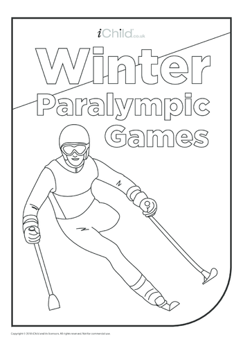 Thumbnail image for the Winter Paralympic Games - Skiing Colouring in Picture activity.