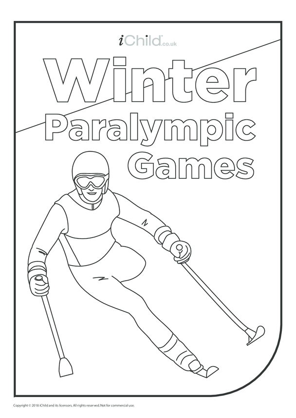 Winter Paralympic Games - Skiing Colouring in Picture