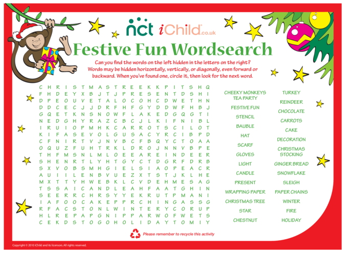 Thumbnail image for the Cheeky Monkey Christmas Wordsearch activity.
