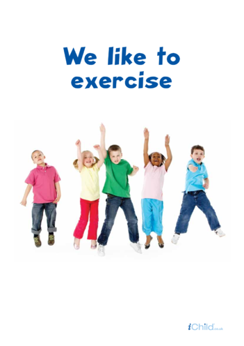 Thumbnail image for the We like to Exercise Poster activity.