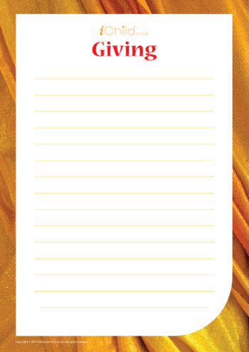 Thumbnail image for the Giving: Lined Writing Paper activity.