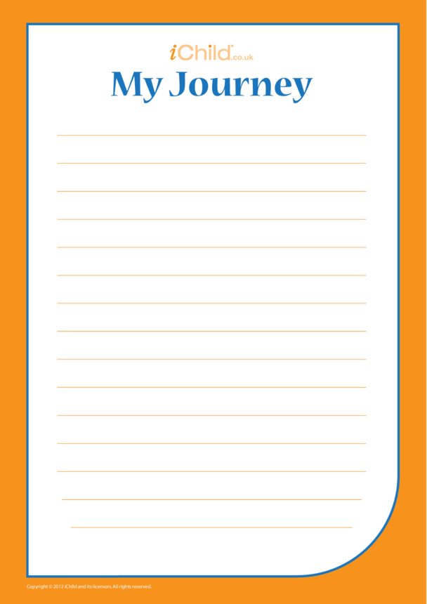 'My Journey' Lined Writing Paper Template