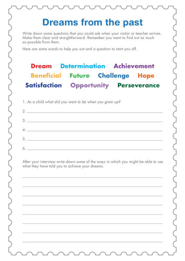 Secondary 2) I Did it My Way- Dreams From The Past Question Template