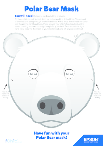 Thumbnail image for the 9) Epson Polar Bear Face Mask activity.