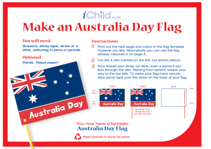 Thumbnail image for the Australia Day Flag Craft (flag of Australia) activity.