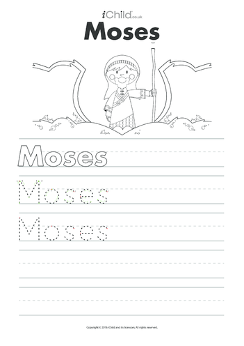 Thumbnail image for the Moses Handwriting Practice Sheet activity.