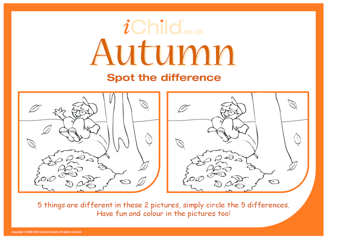 Thumbnail image for the Autumn Spot the Difference activity.