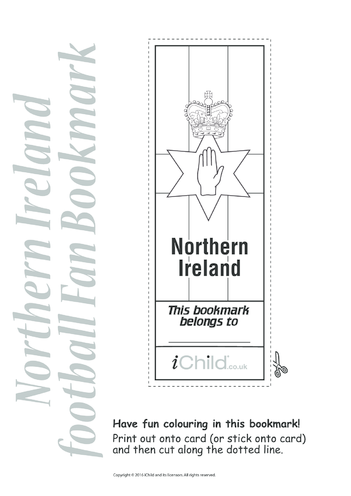 Thumbnail image for the Euro 2016 Northern Ireland Football Bookmark activity.