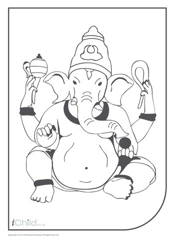 Thumbnail image for the Ganesha Colouring in Picture activity.