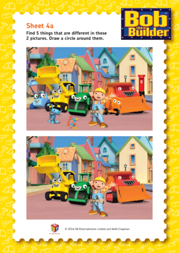 Thumbnail image for the Bob the Builder: Spot The Difference Easy activity.