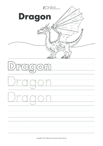 Thumbnail image for the Dragon Handwriting Practice Sheet activity.