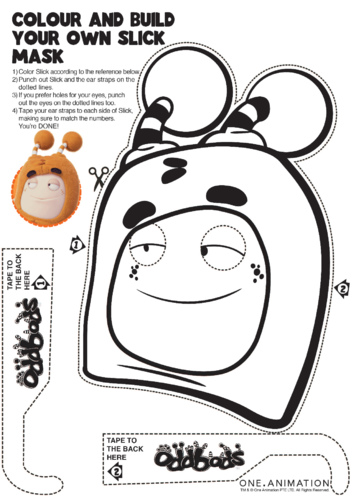 Thumbnail image for the Mask Colouring Slick Oddbods activity.