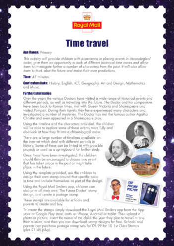 Thumbnail image for the Primary 1) Time Travel Lesson Plan activity.