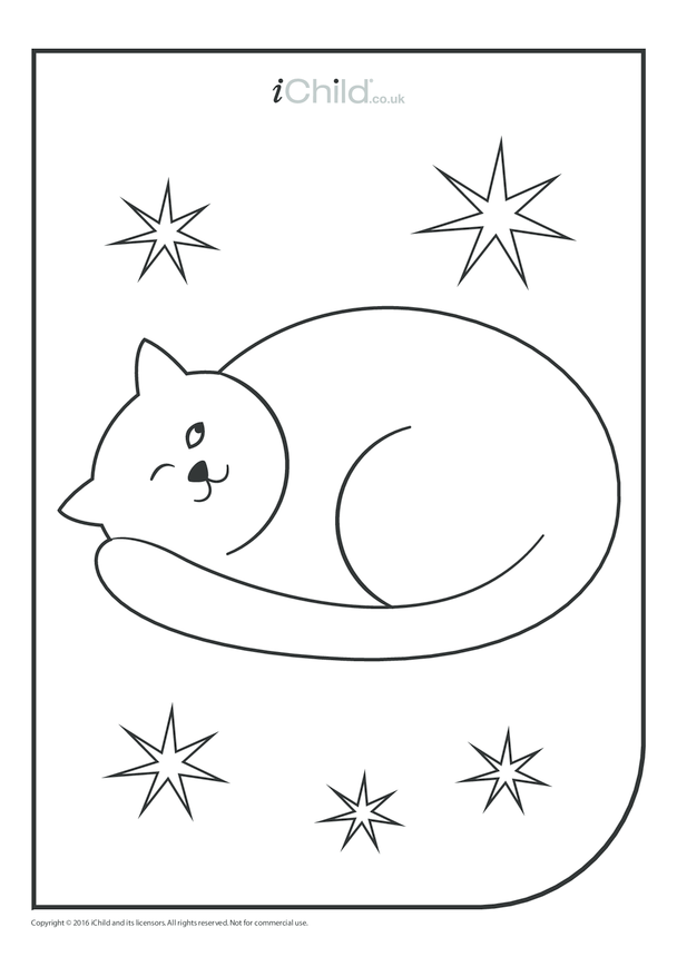 Christmas Cat Colouring in Picture
