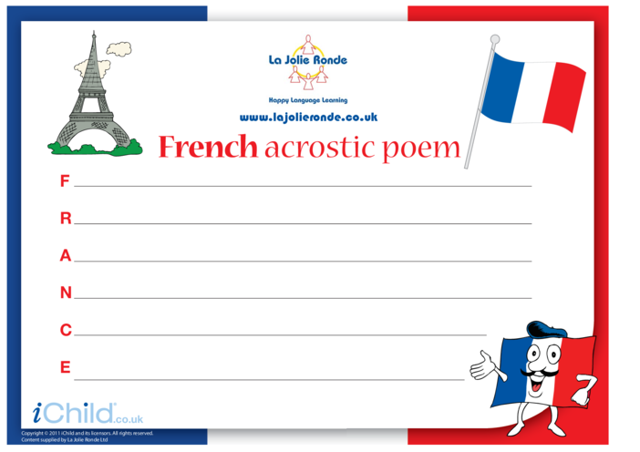 Thumbnail image for the Acrostic Poem in French activity.