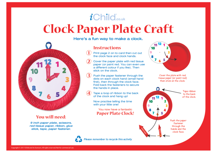 Thumbnail image for the Clock Paper Plate Craft activity.