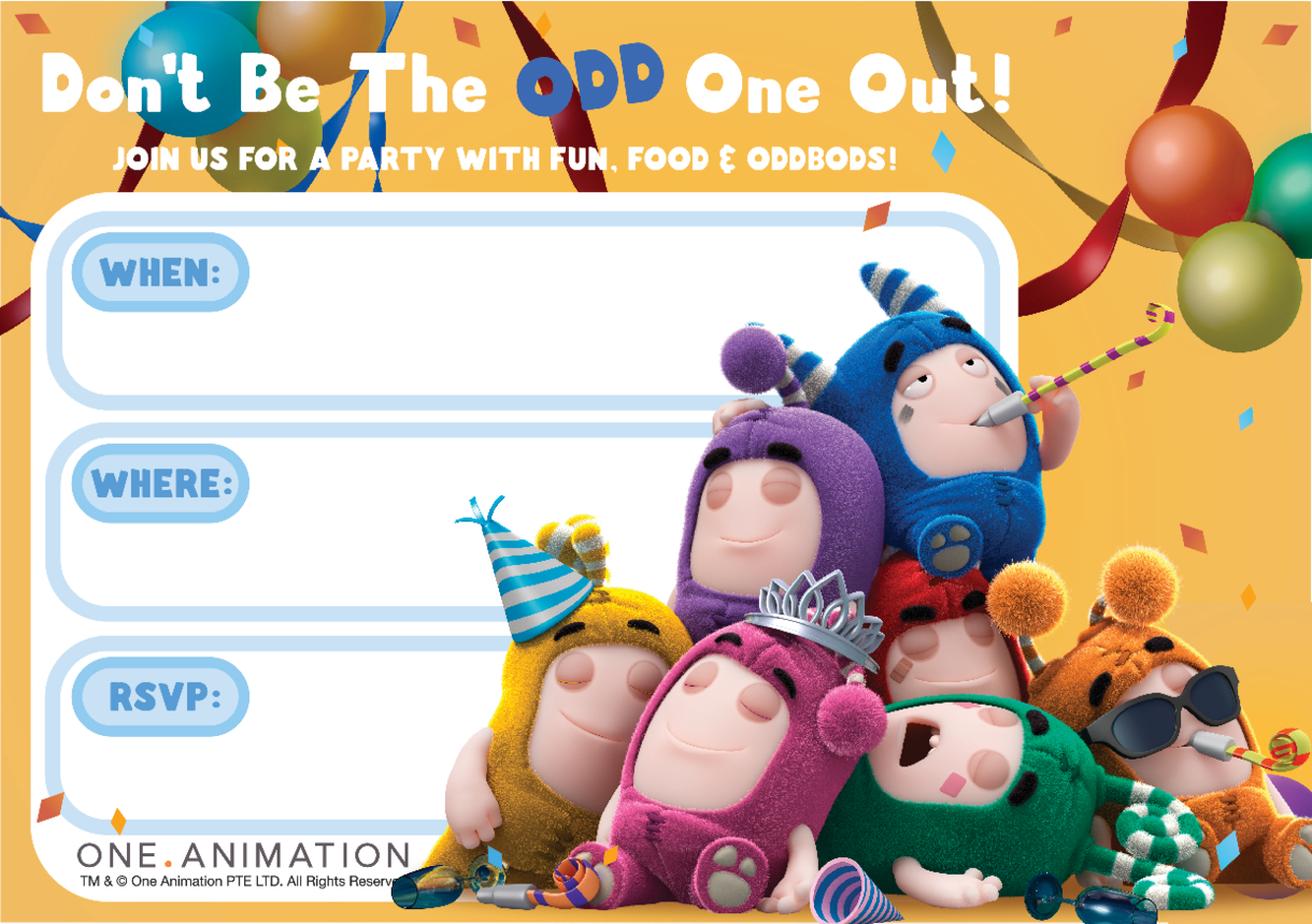 Party Invites Group Oddbods