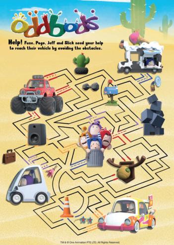 Thumbnail image for the Oddbods Maze - Fuse, Pogo, Jeff & Slick activity.