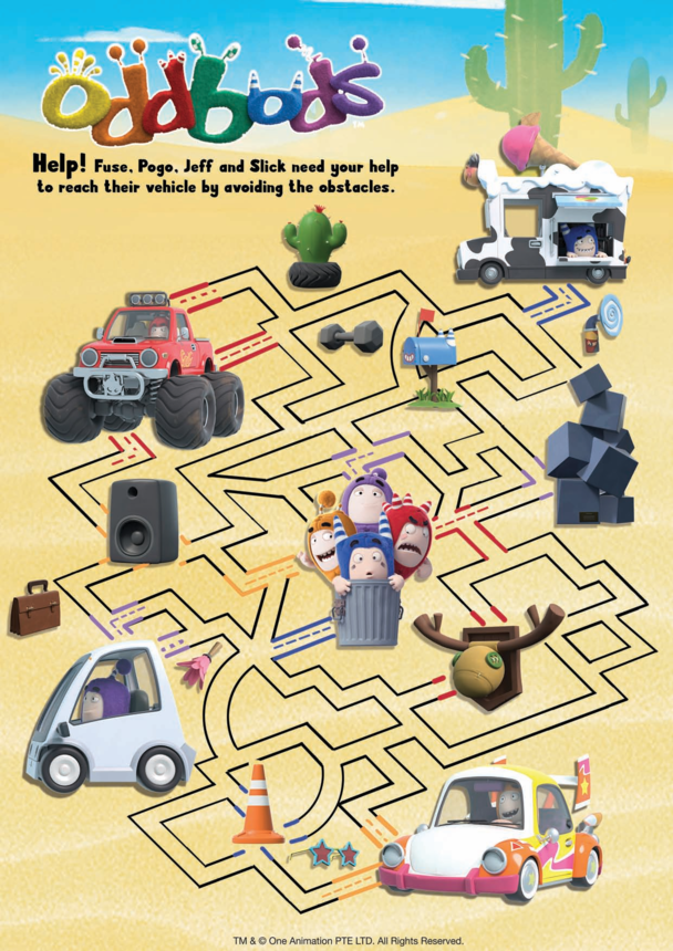 Oddbods Maze - Fuse, Pogo, Jeff & Slick