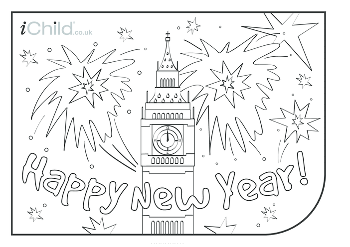 Thumbnail image for the Happy New Year Colouring in picture activity.