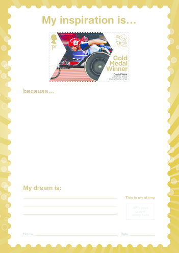 Thumbnail image for the My Inspiration Is- David Weir- Gold Medal Winner Stamp Template activity.