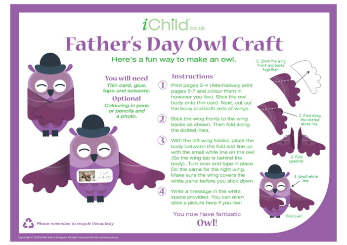 Thumbnail image for the Father's Day Owl Craft activity.