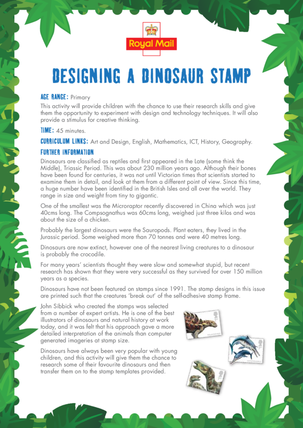 Primary 3) Designing a Dinosaur Stamp Lesson Plan