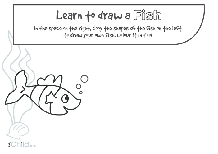 Thumbnail image for the Learn to Draw a Fish activity.