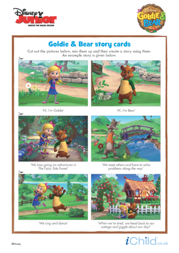 Thumbnail image for the Goldie & Bear: Story Cards- Disney Junior activity.