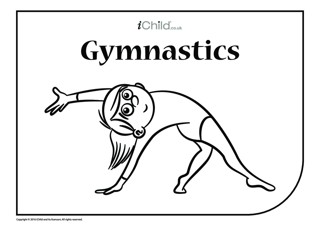 Gymnastics Floor Routine Colouring in Picture