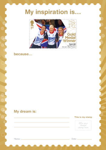 Thumbnail image for the My Inspiration Is- Team GB Cycling Women's Team Persuit- Gold Medal Winner Stamp activity.