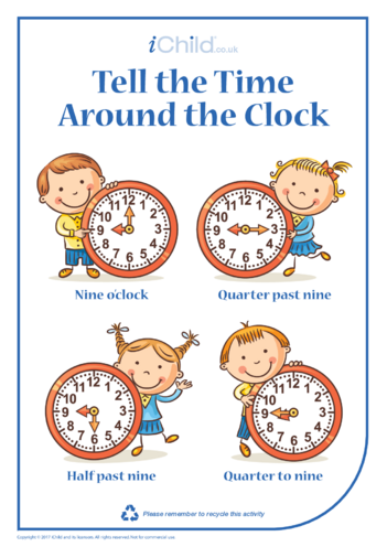 Thumbnail image for the Tell the Time Around the Clock activity.