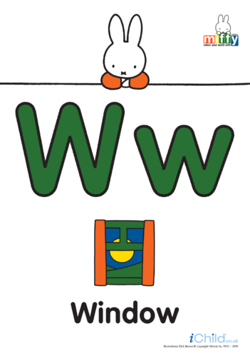 Thumbnail image for the W: Miffy's Letter Ww (less ink) activity.
